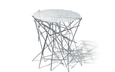 Blow Up Alessi tavolino acciaio e vetro